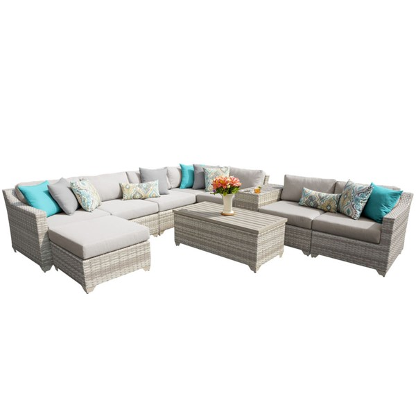 HomeRoots Beige Vanilla Creme Wicker 10pc Outdoor Sectional (10B) OCN-261022