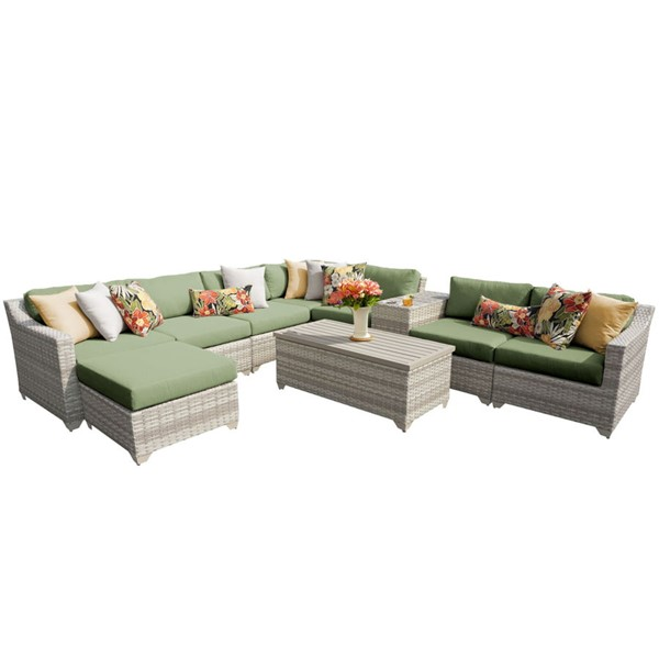 Home Roots Cilantro Vanilla Creme Wicker 10pc Outdoor Sectional (10B) OCN-261023