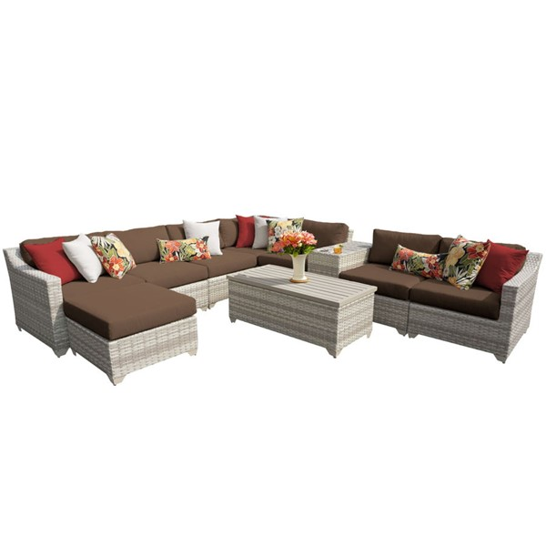 Home Roots Cocoa Vanilla Creme Wicker 10pc Outdoor Sectional (10B) OCN-261024