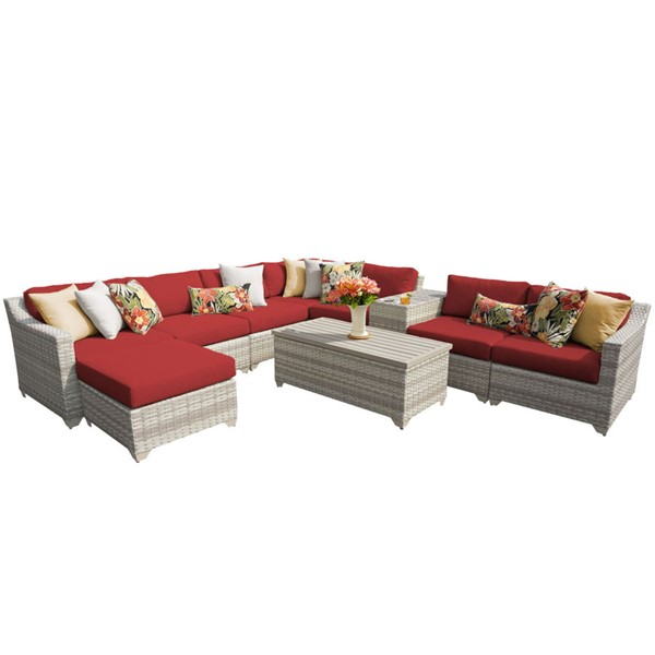 Home Roots Terracotta Vanilla Creme Wicker 10pc Outdoor Sectional (10B) OCN-261029