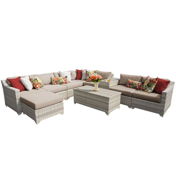Home Roots Wheat Vanilla Creme Wicker 10pc Outdoor Sectional (10B) OCN-261030