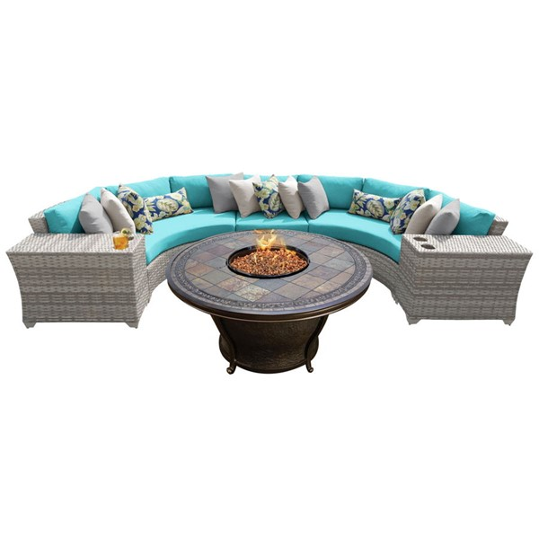 HomeRoots Vanilla Creme Wicker 6pc Outdoor Sectionals (06H) OCN-26107-OUT-SEC-VAR