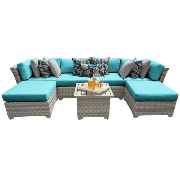Home Roots Fairmont Outdoor Wicker Patio 7pc Furniture Set (07A) OCN-261098-OT-SEC-VAR