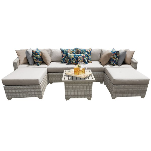 Home Roots Fairmont Beige Outdoor Wicker Patio 7pc Furniture Set (07A) OCN-261099