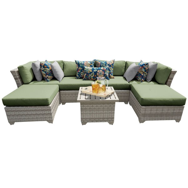 Home Roots Fairmont Cilantro Outdoor Wicker Patio 7pc Furniture Set (07A) OCN-261100