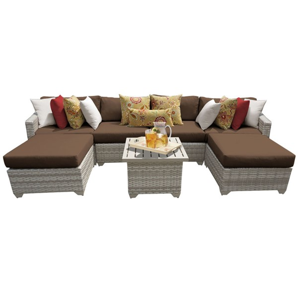 Home Roots Fairmont Cocoa Outdoor Wicker Patio 7pc Furniture Set (07A) OCN-261101