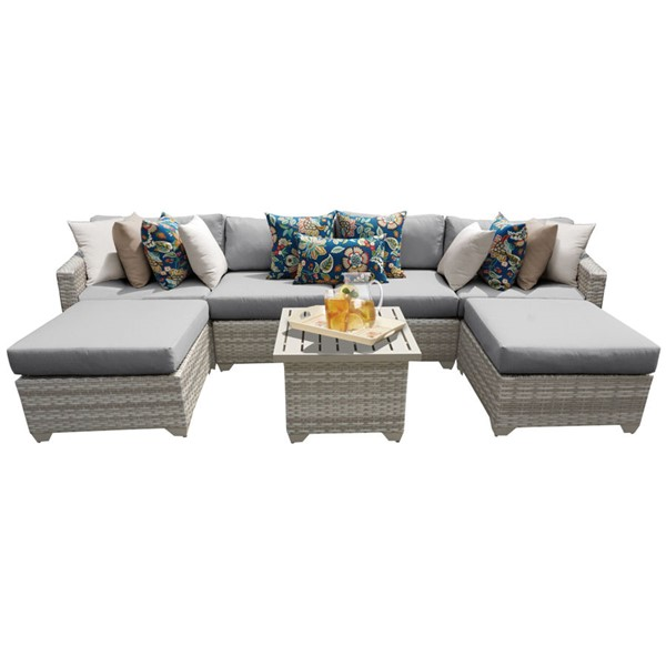 HomeRoots Fairmont Grey Outdoor Wicker Patio 7pc Furniture Set (07A) OCN-261102