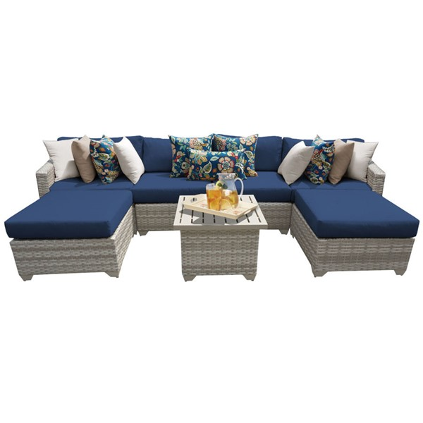 HomeRoots Fairmont Navy Outdoor Wicker Patio 7pc Furniture Set (07A) OCN-261103