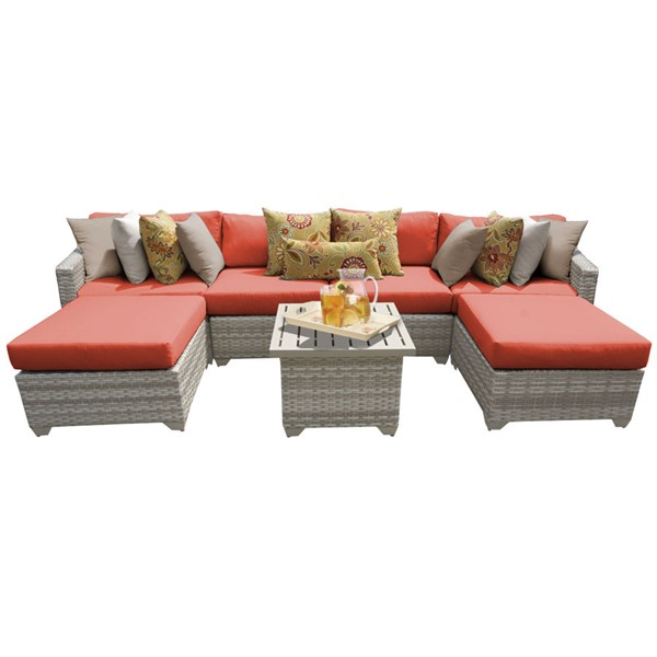Home Roots Fairmont Tangerine Outdoor Wicker Patio 7pc Furniture Set (07A) OCN-261105