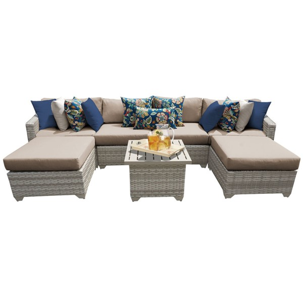HomeRoots Fairmont Wheat Outdoor Wicker Patio 7pc Furniture Set (07A) OCN-261107