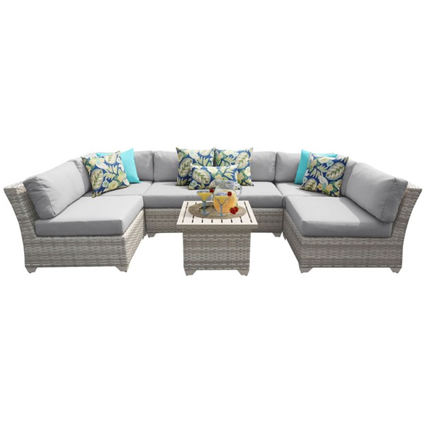 HomeRoots Fairmont Grey Outdoor Wicker Patio 7pc Furniture Set (07C) OCN-261113