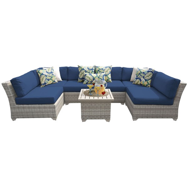 HomeRoots Fairmont Navy Outdoor Wicker Patio 7pc Furniture Set (07C) OCN-261114