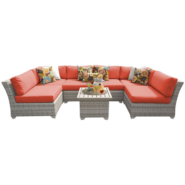Home Roots Fairmont Tangerine Outdoor Wicker Patio 7pc Furniture Set (07C) OCN-261116