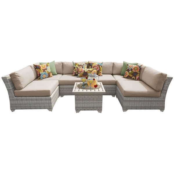Home Roots Fairmont Wheat Outdoor Wicker Patio 7pc Furniture Set (07C) OCN-261118
