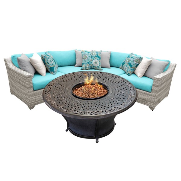 HomeRoots Vanilla Creme Wicker 4pc Outdoor Sectionals (04F) OCN-26124-OUT-SEC-VAR