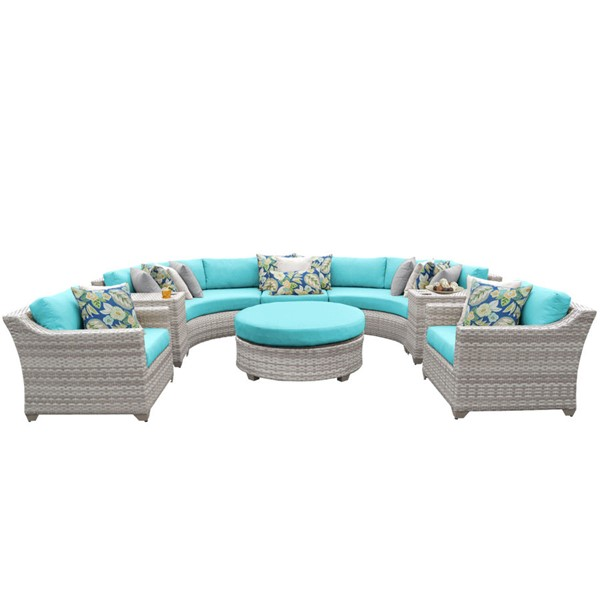 HomeRoots Vanilla Creme Wicker 8pc Outdoor Seating Sets (08E) OCN-26134-OUT-SS-VAR