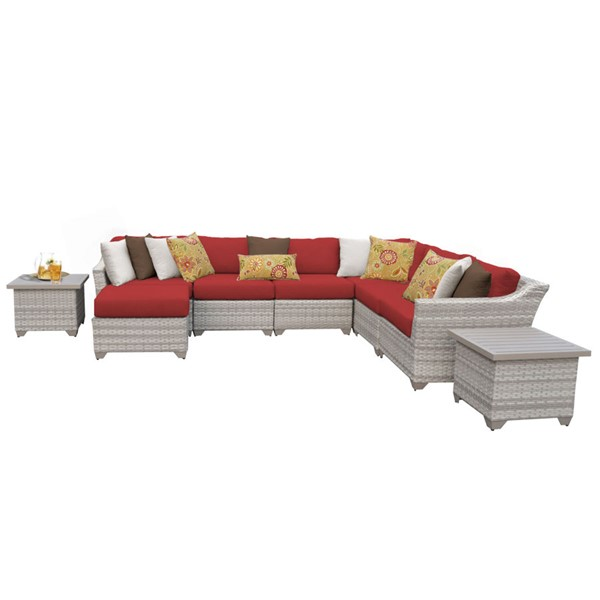 Home Roots Terracotta Vanilla Creme Wicker 9pc Outdoor Sectional (09C) OCN-261375