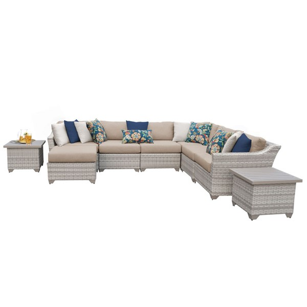 Home Roots Wheat Vanilla Creme Wicker 9pc Outdoor Sectional (09C) OCN-261376