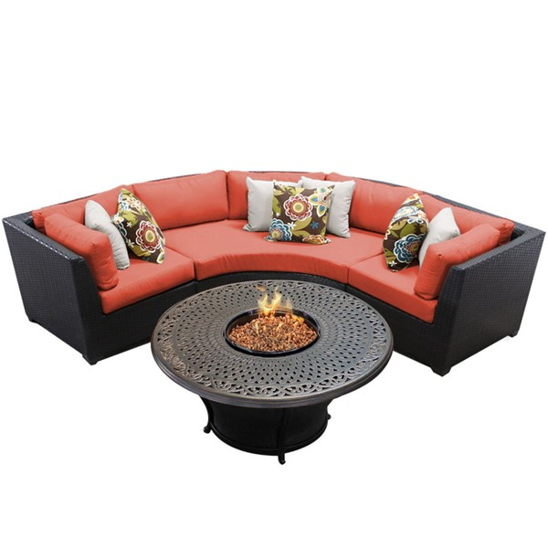 Home Roots Tangerine Espresso Wicker 4pc Outdoor Sectional (04F) OCN-261430