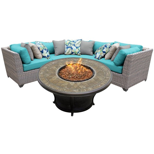 HomeRoots Florence Grey Stone Wicker 4pc Outdoor Sectionals (04E) OCN-26154-OUT-SEC-VAR