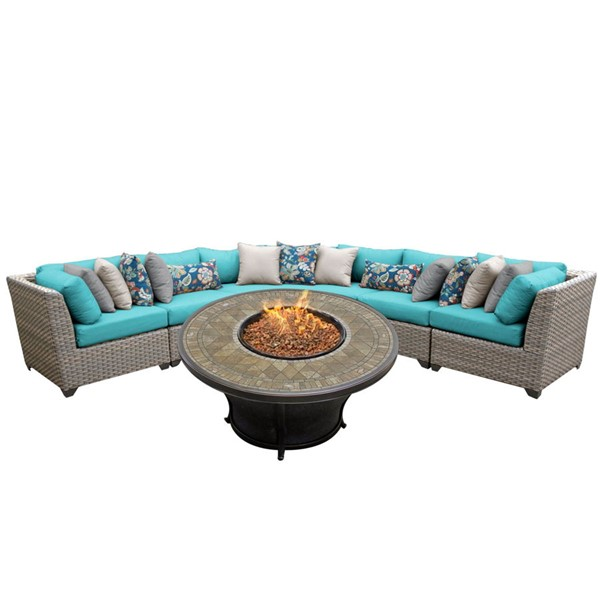 HomeRoots Florence Grey Stone Wicker 6pc Outdoor Sectionals (06K) OCN-26158-OUT-SEC-VAR