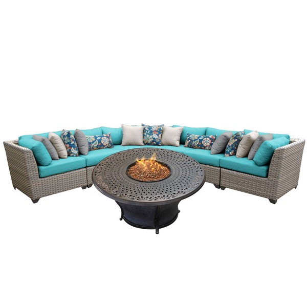 HomeRoots Florence Grey Stone Wicker 6pc Outdoor Sectionals (06L) OCN-26159-OUT-SEC-VAR
