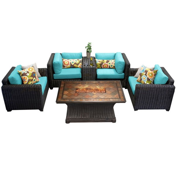 HomeRoots Venice Chestnut Brown Wicker 6pc Outdoor Seating Sets (06D) OCN-26165-OUT-SS-VAR