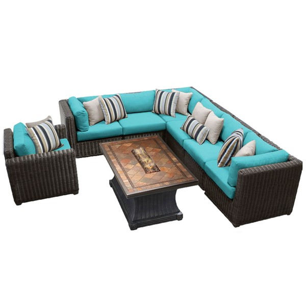 HomeRoots Venice Chestnut Brown Wicker 8pc Outdoor Seating Sets (08G) OCN-26167-OUT-SS-VAR