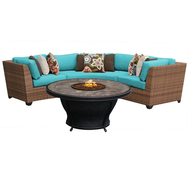 HomeRoots Laguna Caramel Wicker 4pc Outdoor Sectionals (04E) OCN-26180-OUT-SEC-VAR