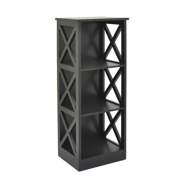 Homeroots Black Wood Sassy Storage Rack OCN-263328