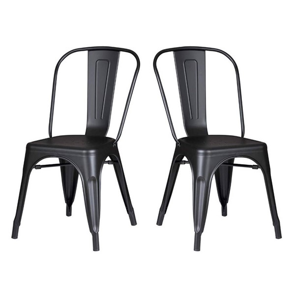 2 Homeroots Matte Black Metal Dining Chairs OCN-265998