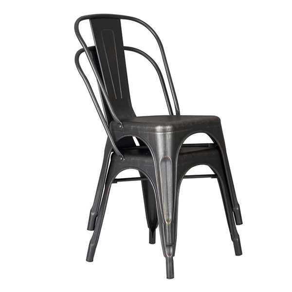 2 HomeRoots Distressed Black Metal Dining Chairs OCN-265999