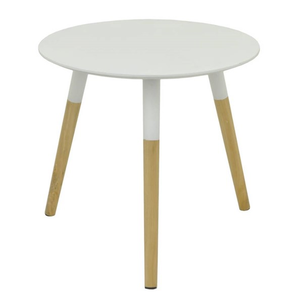 Homeroots White Beige Wood Appealing Table OCN-267829