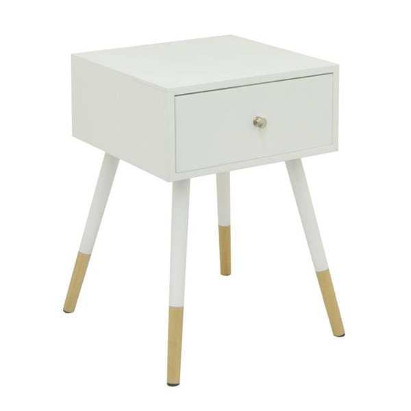 Homeroots White Beige Wood End Table OCN-268607