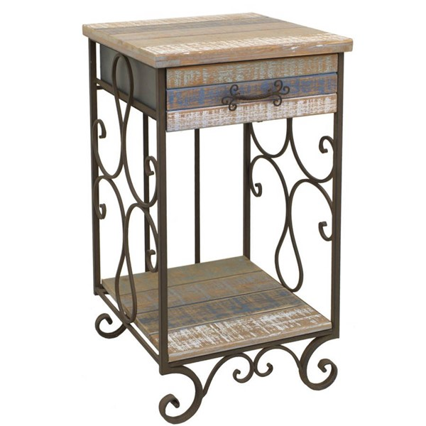 Homeroots Distressed Metal Wood 1 Drawer Enticing Side Table OCN-268689