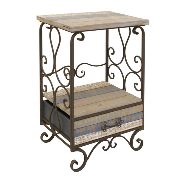 Homeroots Distressed Metal Wood 1 Drawer Alluring Side Table OCN-268690