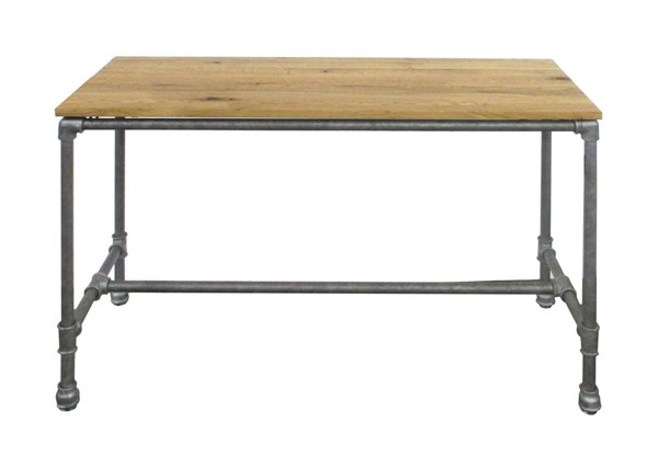 Homeroots Natural Wood Top Metal Legs Dining Table OCN-269255