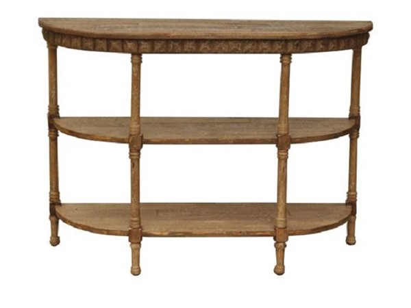Homeroots Brown Wood Half Moon Two Shelves Console Table OCN-274359