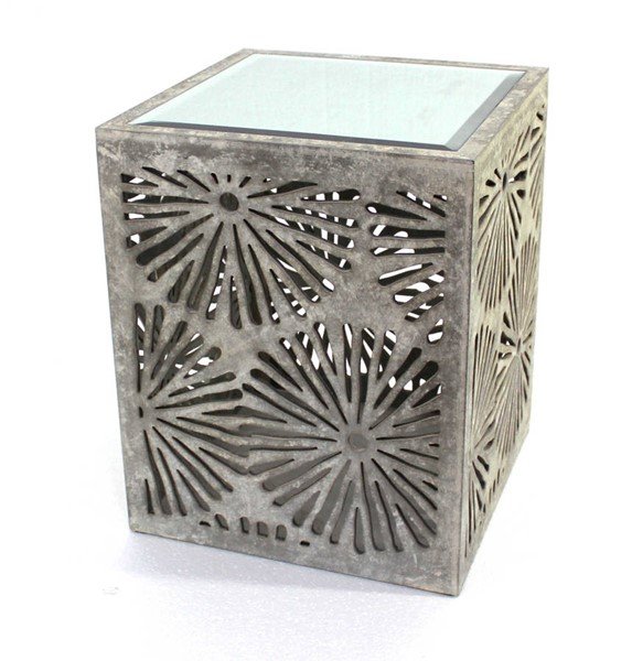 Homeroots Gray Wood Mirror Top Floral End Table OCN-274370