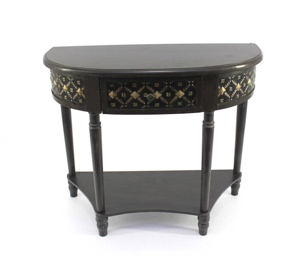 Homeroots Charcoal Wood 1 Drawer Half Moon Console Table OCN-274377