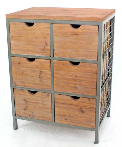 Homeroots Natural Wood 6 Drawer Cabinet OCN-274389