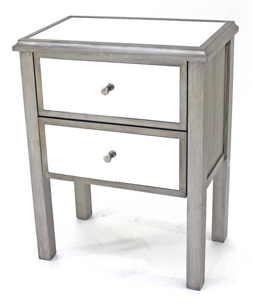 Homeroots Silver Wood Mirror 2 Drawer End Table OCN-274403