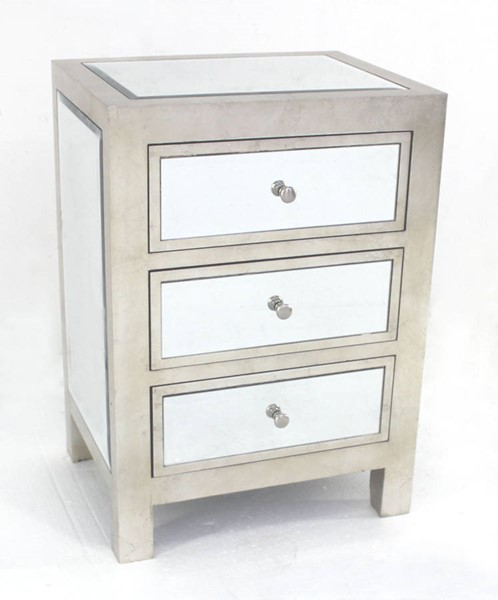 Homeroots Silver Wood Mirror 3 Drawer End Table OCN-274427