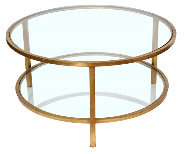 Homeroots Gold Metal Double Layered Coffee Table OCN-274444