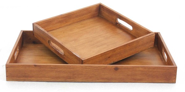 Homeroots Brown Wood 2pc Serving Tray Set OCN-274449