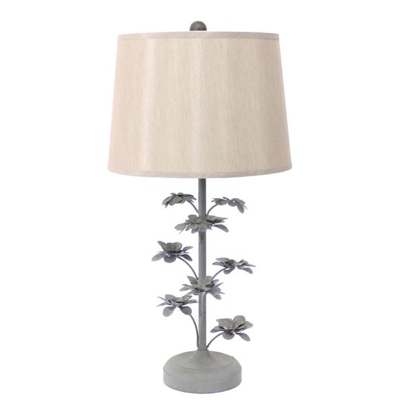 HomeRoots Gray Metal Rustic Flowering Tree Table Lamp OCN-274461