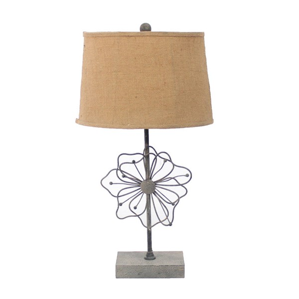 HomeRoots Tan Blooming Flower Pedestal Table Lamp OCN-274463