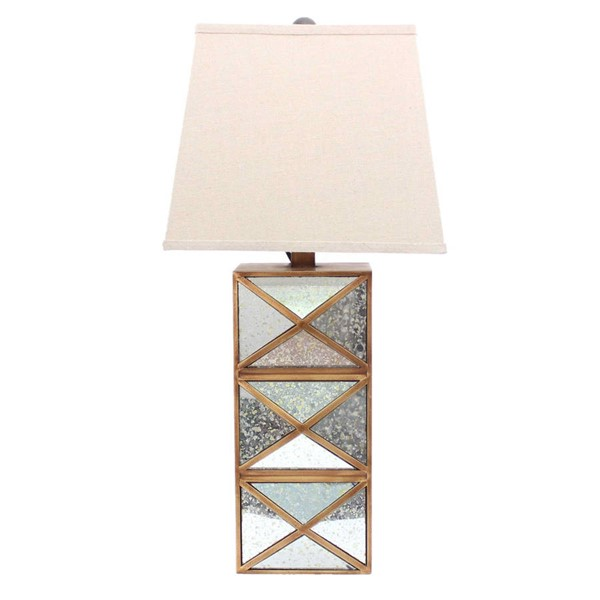 HomeRoots Gold Wood Illusionary Mirrored Base Table Lamp OCN-274466
