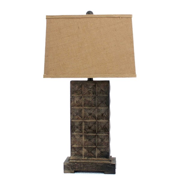 HomeRoots Brown Distressed Metal Pedestal Table Lamp OCN-277066