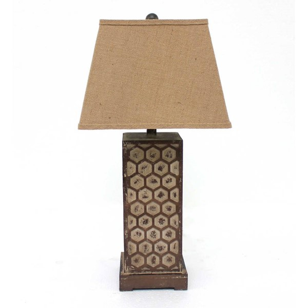 HomeRoots Brown Honeycombed Metal Base Table Lamp OCN-277068